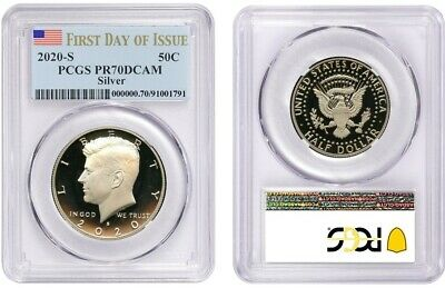 2020 S Silver Kennedy Half Dollar 50C Pcgs Pr70Dcam First Day Of Issue 150