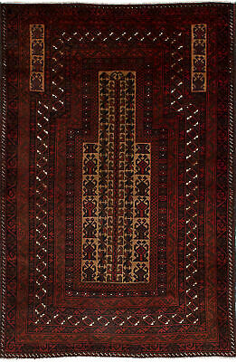 """Hand-knotted Carpet 3'2"""" x 4'10"""" Traditional Vintage Wool Rug"""