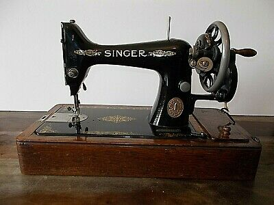 Vintage No 99 Singer Sewing Machine, lockable Oak Case With Key & Accessories