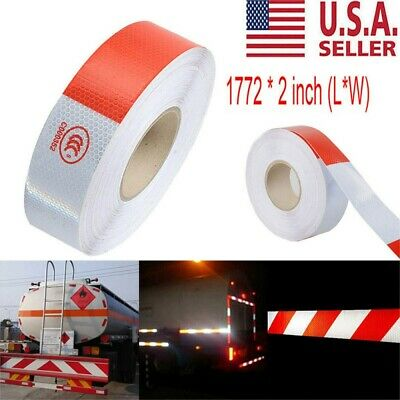 "2""x150 Dot-C2 PREMIUM Reflective Red and White Conspicuity Tape Trailer 3PCS"