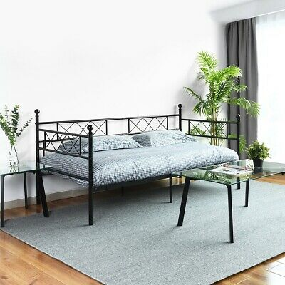 Twin Daybed with Headboard/Metal Slat Support/ No Box Spring Needed