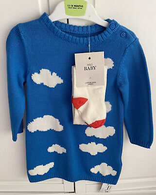 Mark & Spencer Girls Jumper Dress Tights Blue BNWT 12-18 Months
