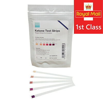 100 Ketone Urinalysis Test Strips for Ketosis - top quality lab grade -UK seller