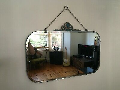 Vintage Worn 1930s Art Deco Frameless Oblong Bevelled Wall Mirror with Crest