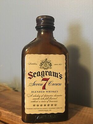 Empty Sealed Vintage Seagrams 7 Miniature Bottle