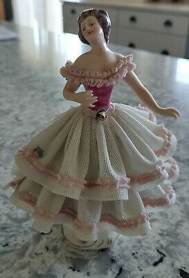 Beautiful!!! WR DRESDEN ART Pink & White Lace Dress Figurine,  Made in Germany