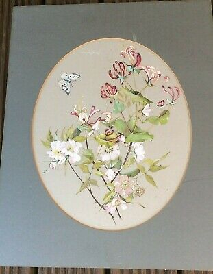 original really pretty Molly Fletcher floral still life with butterfly