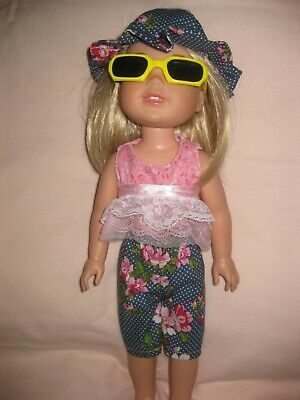 Wellie Wishers/14 inch/navy capris/pink sleeveless top w/lace/sun hat