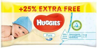 Huggies Pure Wet Wipes, 72 Units (Pack of 4) 288 Total Wipes