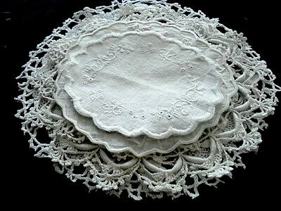 """Fab VINTAGE~5 Lace Trim(Cluny/Tatted/Embroidered) DOILIES~4-7""""~White Linen"""