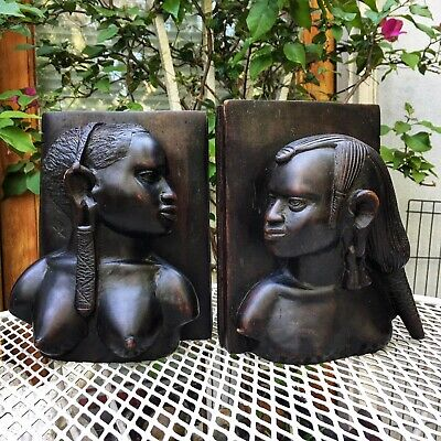 Vintage African Carved Ebony Wood Male + Female Bookends
