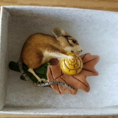 Handcrafted In England Resin Mouse Brooch/Tietac In Gift Box