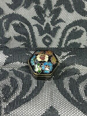 Solid Perfume Compact- Pill- Trinket Box- Enameled Floral & Black-Blue Enamel In