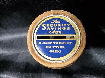 Vintage Wood Barrel Coin Bank Dayton, The Security Savings Assn. Bankers Thrift