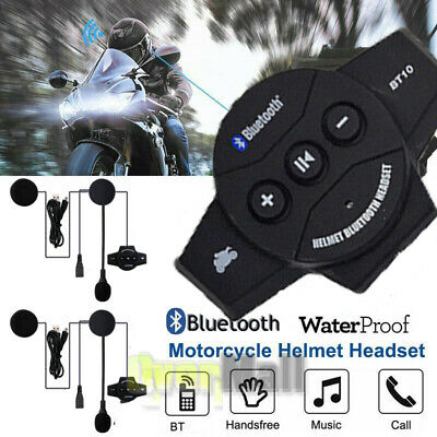 2x Rechargeable Motorcycle Wireless Bluetooth Helmet Headset Headphone with Mic