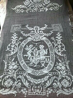 ANTIQUE French Handmade FILET LACE BEDSPREAD with cherubs