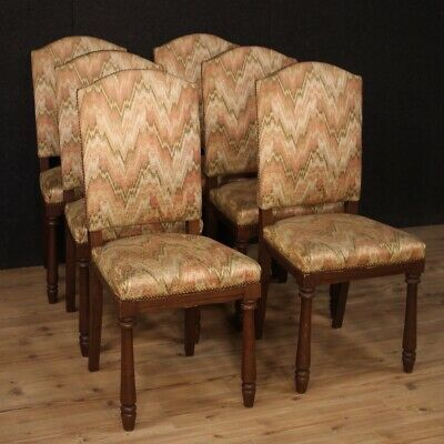 6 Chairs Furniture Style Antique Rustic Seats Armchairs Living Room Fabric 900