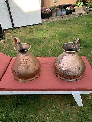 Two Large Antique 19Th Century Copper 4 Gallon Measuring Jugs