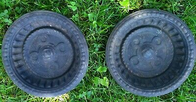 Matched Pair Antique Victorian Hall Tree Cast Iron Umbrella Drip Pan Ornate