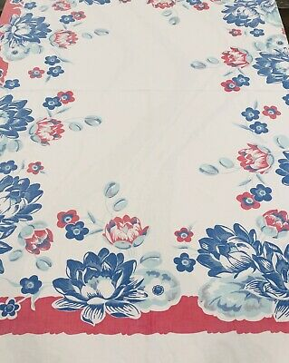 ViNtage Cotton Tablecloth ~ Red White Blue Floral Flowers ~ Americana