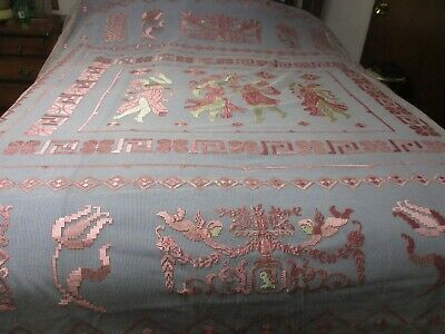 Antique French Net Crochet Lace Bed Cover 93 x 100 Cupids Months Figures
