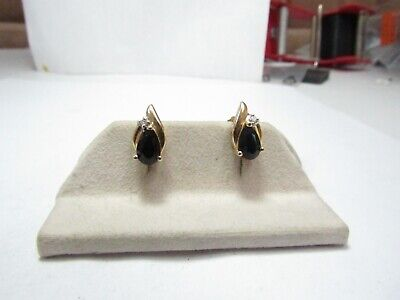 14K Solid Gold Earrings W/ Pear Shape Black Natural Onyx And Diamonds