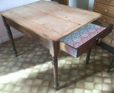 Scrub top kitchen table with drawer unrestored