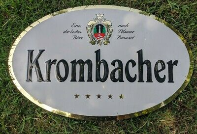 "Beer Pub Sign Metal Krombacher Brewery Tin Bier signage used Condition 24"" x 15"""