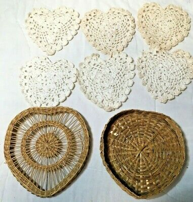 Six Hand Crochet Heart Shape  Doily 3.5 inches with Bamboo Holder