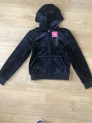 Juicy Couture Girls Velour Tracksuit Top Hoodie Jumper Size 10-11 Years