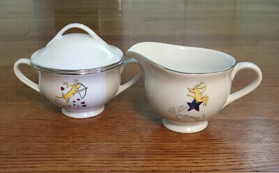 Pottery Barn REINDEER Retired SUGAR & CREAMER Set Comet Cupid New With Tags WOW!