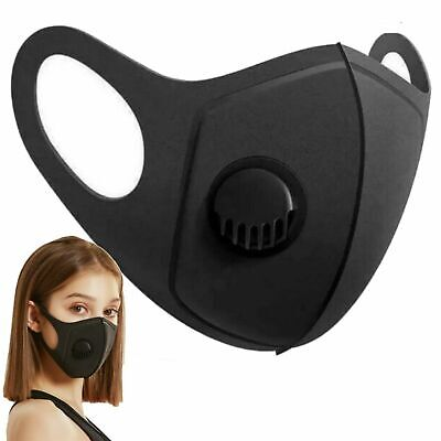 Face Mask Breathable Washable 2.5M Filter Protective Mouth Protection Black- UK