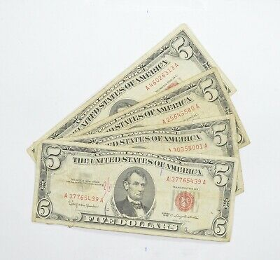 Lot of (4) $5.00 Red Seal US Notes Currency Collection $5 1963 or 1953 *005