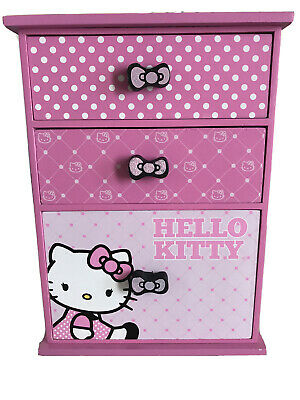 Hello Kitty 3 Drawer Wood Pink Jewelry Trinket Box (2014) Sanrio FAB Starpoint