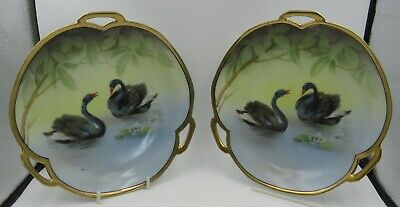 Pair of Antique Transfer-Printed Wall Plates Featuring Black Swans