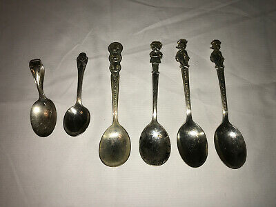 Lot Of 6 Vtg Spoons Campbell Girl Spaghettios Gerber and Woody Woodpecker Spoons