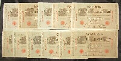 Lot of 11 Germany 1910 1000 Mark Notes all CU