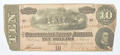 Genuine CIVIL WAR 1864 $10 C. S. A. Over 150 Years Old Horse Blanket Note *173