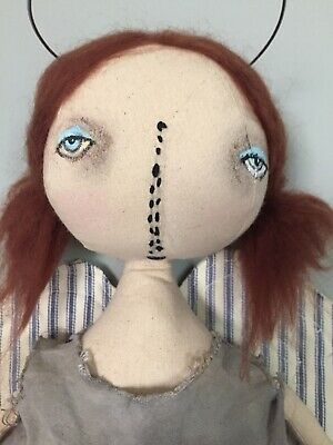 "Primitive Handmade Folk-Art Doll 22"" ""WISH"""