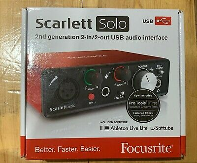 Focusrite Scarlett Solo 2nd Gen USB Audio Interface - Box And USB Lead Included