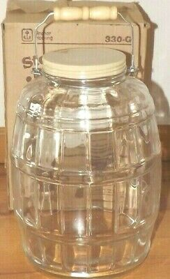 Vintage 2.5 Gallon Glass Pickle Barrel Jar Storage Canister Anchor Hocking