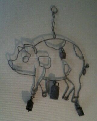 PIG WIND CHIME with COW BELLS complete VINTAGE RUSTY METAL