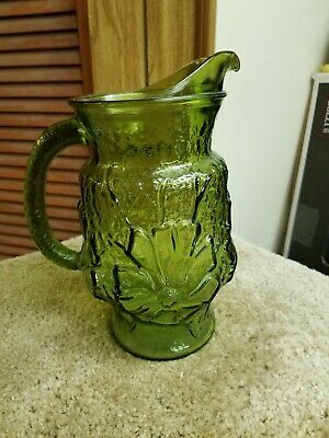 Vintage Green Glass Pitcher Floral design Made in USA