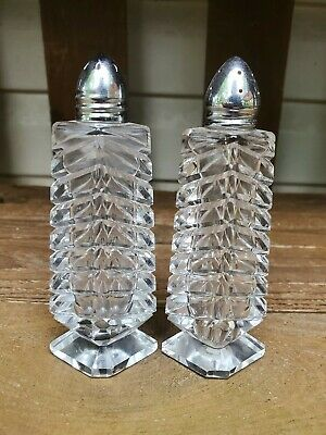 Antique Cut Crystal Salt & Pepper Shakers Beautiful