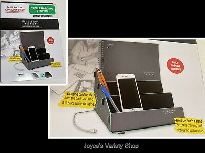 Five Star Tech Charging Station Desktop Organization Gray