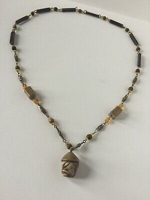 Antique Beaded Necklace Carved Oriental Head Pendant Pharaoh Beads