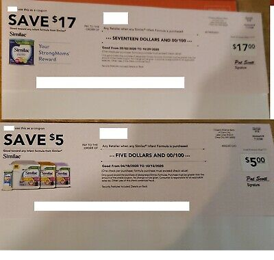 Similac Infant Formula Coupons $22 Worth - Exp 10/15/2020