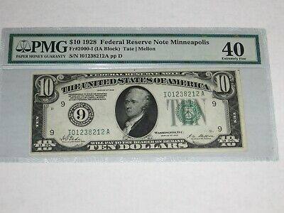 1928 $10 Federal Reserve Note. #9. Minneapolis. -212A. PMG 40.