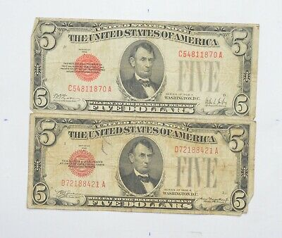 Tough Lot of 2 1928-A & B $5.00 Early Red Seal United States US Note *752