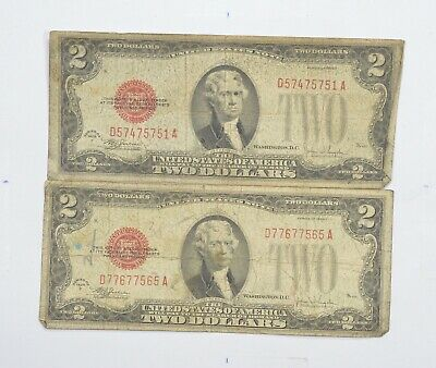 Lot (2) Red Seal $2.00 Series F & F US 1928 Notes - Currency Collection *704